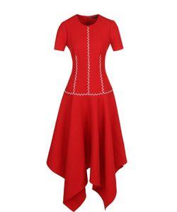 Alexander McQueen | Приталенное Платье-Миди Из Смеси Шерсти И Шелка