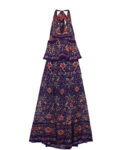 Roberto Cavalli | Приталенное Платье-Макси С Открытой Спиной И Баской