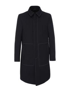 Fendi | Шерстяное Однобортное Пальто С Контрастной Прострочкой
