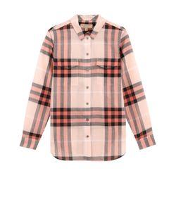 Burberry   Хлопковая Блуза Прямого Кроя В Клетку
