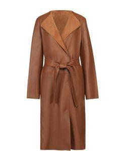 Yves Salomon | Кожаное Пальто Прямого Кроя С Поясом