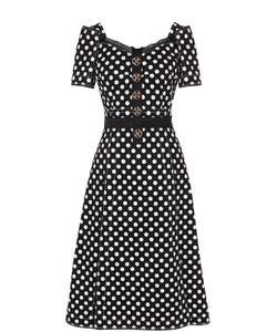 Dolce & Gabbana | Приталенное Платье-Миди С Принтом Горох И Декоративной Отделкой
