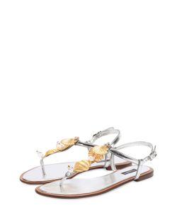 Dolce & Gabbana | Сандалии Из Металлизированной Кожи С Декором