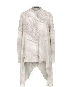 Alexander McQueen | Шелковая Блуза Асимметричного Кроя С Принтом