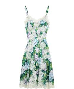 Dolce & Gabbana | Приталенное Платье С Цветочным Принтом И Кружевной Отделкой