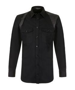 Alexander McQueen | Шерстяная Рубашка С Кожаной Отделкой