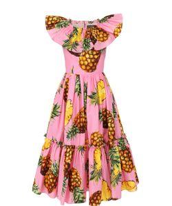 Dolce & Gabbana | Приталенное Платье-Миди С Ярким Принтом И Оборками