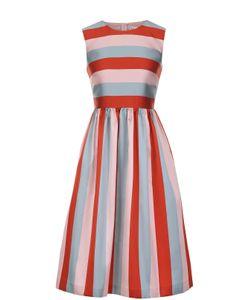 Red Valentino | Приталенное Платье-Миди В Контрастную Полоску Redvalentino