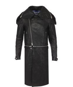 Givenchy   Кожаное Пальто На Молнии С Меховой Отделкой Воротника