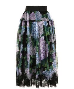 Dolce & Gabbana   Шелковая Юбка-Миди С Цветочным Принтом