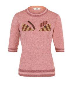 Fendi | Пуловер С Укороченным Рукавом И Металлизированной Нитью