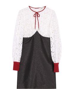Bally   Мини-Платье С Длинным Рукавом И Кружевным Лифом