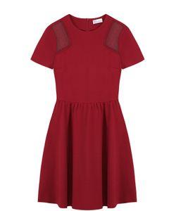Red Valentino | Приталенное Мини-Платье С Кружевными Вставками