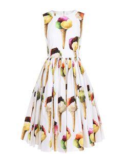 Dolce & Gabbana | Платье-Миди С Пышной Юбкой И Ярким Принтом