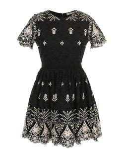 Alice + Olivia | Кружевное Мини-Платье С Контрастной Вышивкой