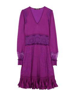 Roberto Cavalli | Приталенное Платье-Миди С Кружевными Вставками