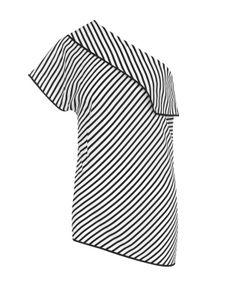 Diane Von Furstenberg   Шелковый Топ Асимметричного Кроя В Полоску