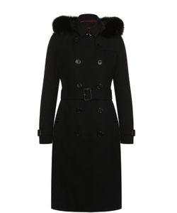 Burberry | Двубортное Пуховое Пальто С Меховой Отделкой Капюшона