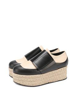 Marni | Кожаные Ботинки На Джутовой Платформе