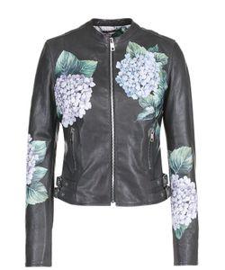 Dolce & Gabbana | Приталенная Кожаная Куртка С Цветочным Принтом