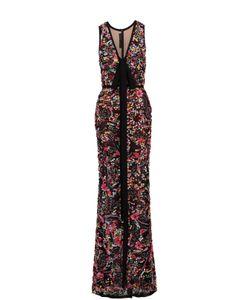Elie Saab | Приталенное Платье-Макси С Контрастной Вышивкой