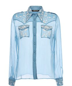 Roberto Cavalli | Шелковая Прозрачная Блуза С Вышивкой