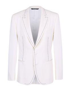 Dolce & Gabbana | Шерстяной Приталенный Пиджак С Контрастной Прострочкой