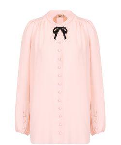 No. 21 | Блуза С Контрастным Бантом Из Бисера