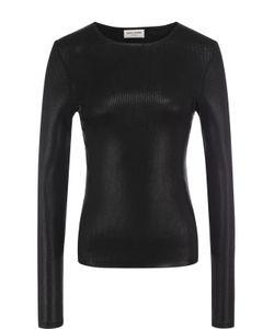Saint Laurent   Облегающий Пуловер С Металлизированной Отделкой