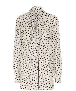 Dolce & Gabbana | Шелковая Удлиненная Блуза В Горошек С Воротником-Аскот