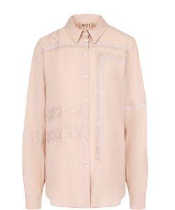 No. 21   Блуза Прямого Кроя С Кружевной Отделкой