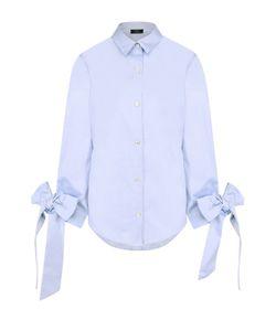 Clu   Хлопковая Блуза Свободного Кроя С Бантами На Рукавах