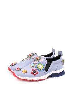 Fendi | Кожаные Кроссовки С Цветочной Аппликацией