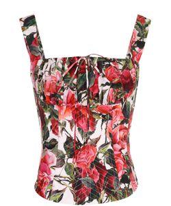 Dolce & Gabbana | Корсет С Цветочным Принтом И Контратсной Шнуровкой