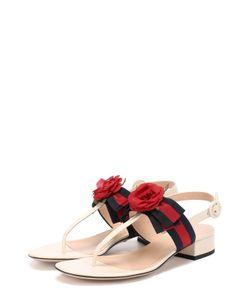 Gucci | Кожаные Сандалии Cindi С Цветочной Аппликацией
