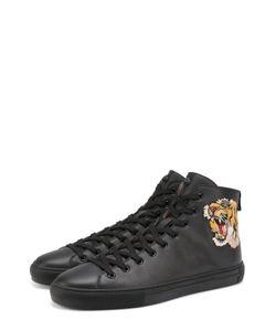 Gucci | Высокие Кожаные Кеды На Шнуровке С Контрастной Вышивкой