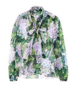 Dolce & Gabbana | Шелковая Блуза С Цветочным Принтом И Воротником Аскот
