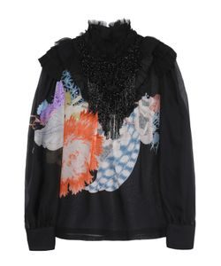 Dries Van Noten | Шелковая Полупрозрачная Блуза С Принтом И Декоративной Отделкой Бисером Dries Van