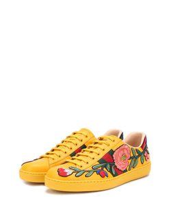 Gucci | Кожаные Кеды Ace С Контрастной Вышивкой