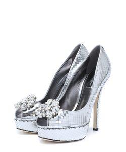 Dolce & Gabbana | Туфли Bette Из Металлизированной Кожи С Брошью