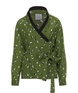 Stella Jean | Шелковая Блуза-Кимоно С Принтом И Контрастной Отделкой