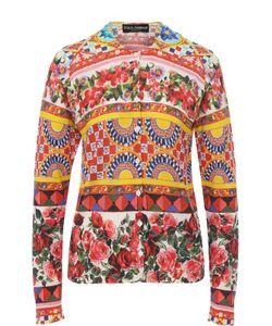 Dolce & Gabbana | Шелковый Кардиган С Ярким Принтом