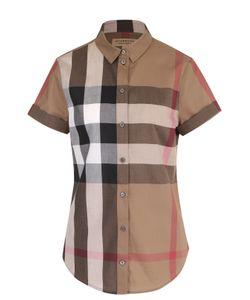 Burberry | Приталенная Хлопковая Блуза С Коротким Рукавом