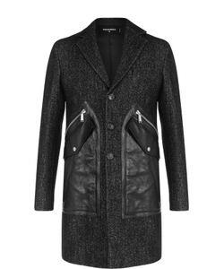 Dsquared2 | Однобортное Пальто С Кожаной Отделкой