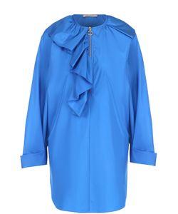 Nina Ricci | Шелковая Блуза Прямого Кроя С Круглым Вырезом И Оборкой