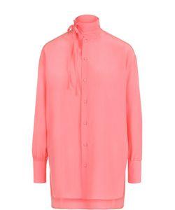 Valentino | Шелковая Блуза Прямого Кроя С Воротником-Стойкой