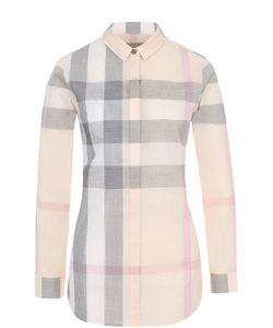 Burberry | Приталенная Хлопковая Блуза В Клетку