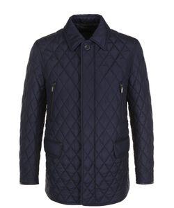 Brioni | Удлиненная Стеганая Куртка На Молнии С Отделкой Из Натуральной Кожи