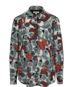 Burberry | Шелковая Блуза Прямого Кроя С Принтом