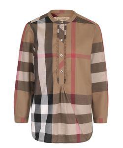 Burberry | Хлопковая Блуза В Клетку С Круглым Вырезом